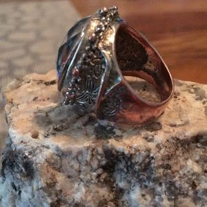 Jewelry - Hammered copper ring with a mirror stone